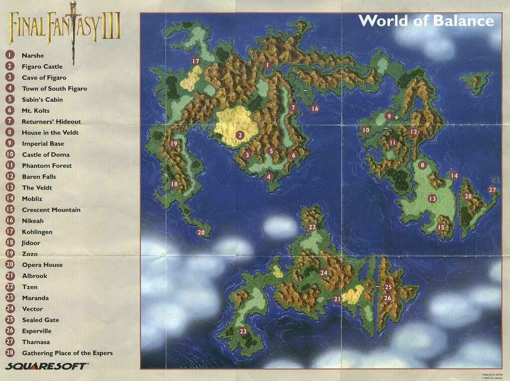 Final Fantasy 13 World Map.Final Fantasy 6 Vi Ff6 World Maps
